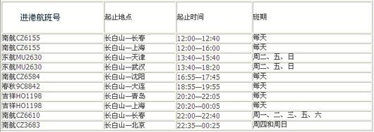 长白山机场航班最新时刻表 - 延边新闻 - 延吉新闻网