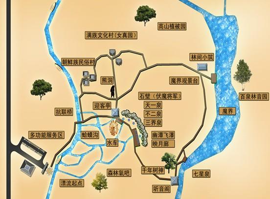 """长白山魔界旅游风景区位于安图县二道白河镇,景区处于长白山针叶、阔叶混交林带,占地87公顷,景区内生长着稀有树种50余种,野生植被120余种,动物鸟类30余种,水源丰富是国内多家矿泉水企业的水源地,景区内水质优良,常年不冻,当气温较冷时,会出现神奇的景象。长白山魔界旅游风景区经理刘加海介绍说:水中植物在日出时,大气蒸腾形成雾凇,衬托出树和水若隐若现,仿佛到了原始社会的远古世界,摄影人称这里为""""魔界""""。 魔界旅游风景区项目建设于2011年,项目总投资5000万元,一期项目总投资2000"""
