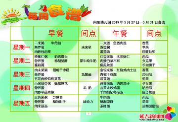 延吉市向阳幼儿园5月27日—5月31日食谱