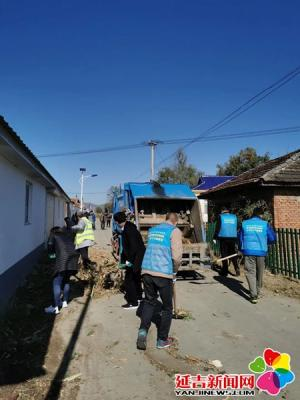 延吉社会组织志愿者为太兴村清理环境卫生