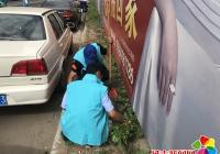 非公组织志愿者清理杂草支持文明创建