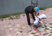 延青社区砌牢水泥盖 及时排除安全隐患